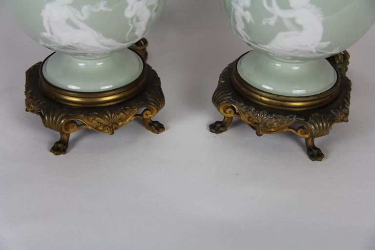French Gilt Bronze Mounted Double-Sided Pate Sur Pate Celadon Ground Lamps, Pair For Sale 8