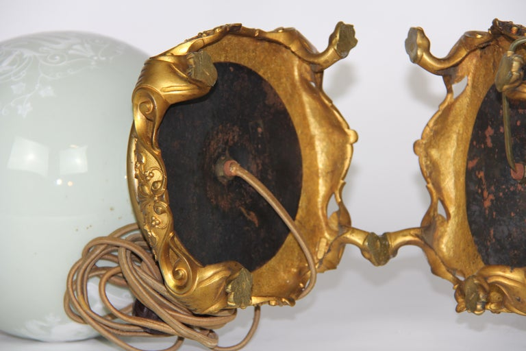 French Gilt Bronze Mounted Double-Sided Pate Sur Pate Celadon Ground Lamps, Pair For Sale 9