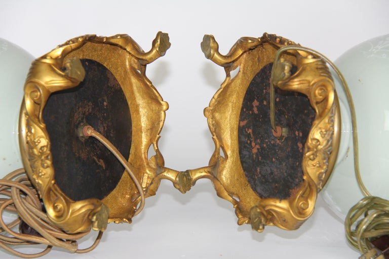 French Gilt Bronze Mounted Double-Sided Pate Sur Pate Celadon Ground Lamps, Pair For Sale 10