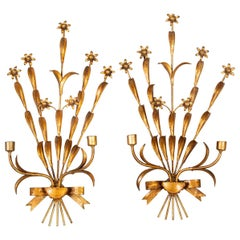 Pair of French Gilt Metal Wall Sconces