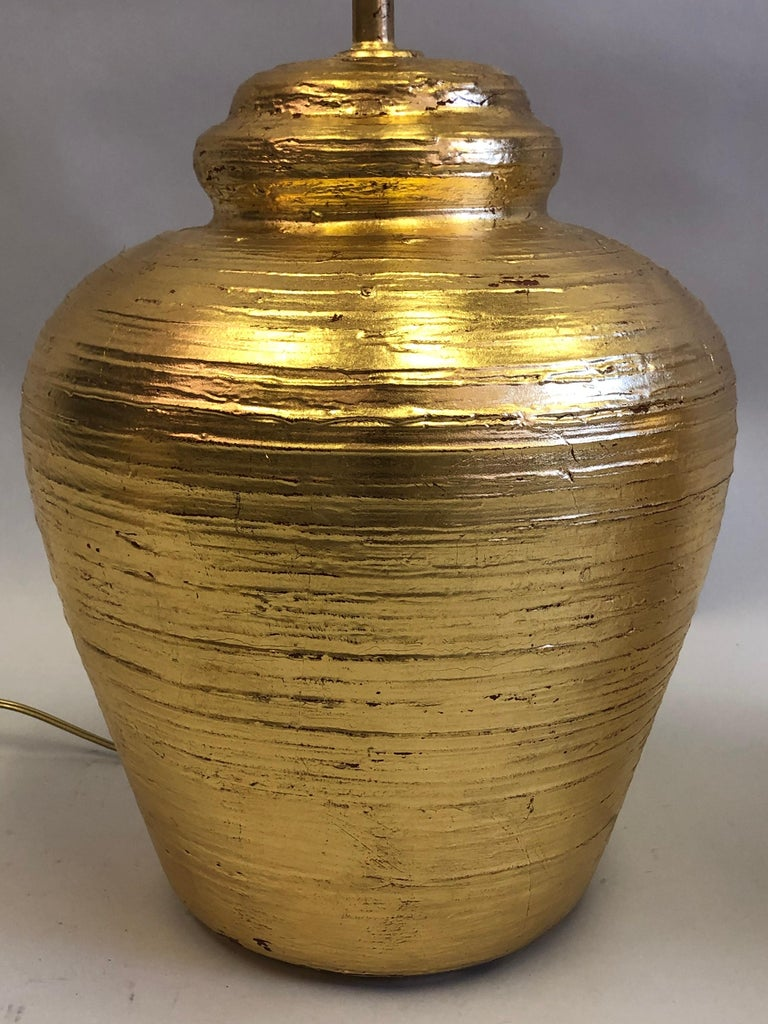 Pair of French Gilt Terracotta Table Lamps, Giacometti for Jean-Michel Frank For Sale 1