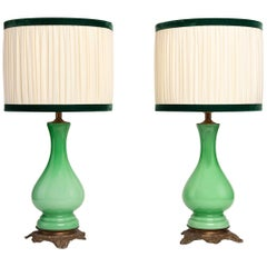 Pair of French Green Opaline Glass and Brass Base Lamps, 1850