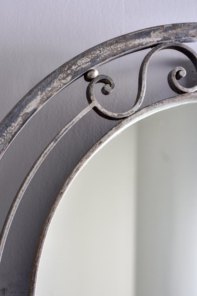 Pair French Iron Marble-Topped Wall Consoles with Mirrors For Sale 9