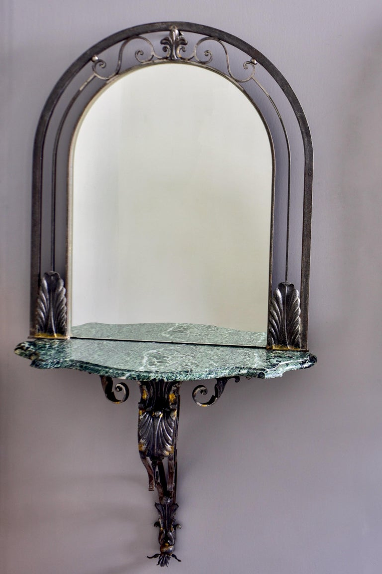 Pair French Iron Marble-Topped Wall Consoles with Mirrors In Good Condition For Sale In Troy, MI