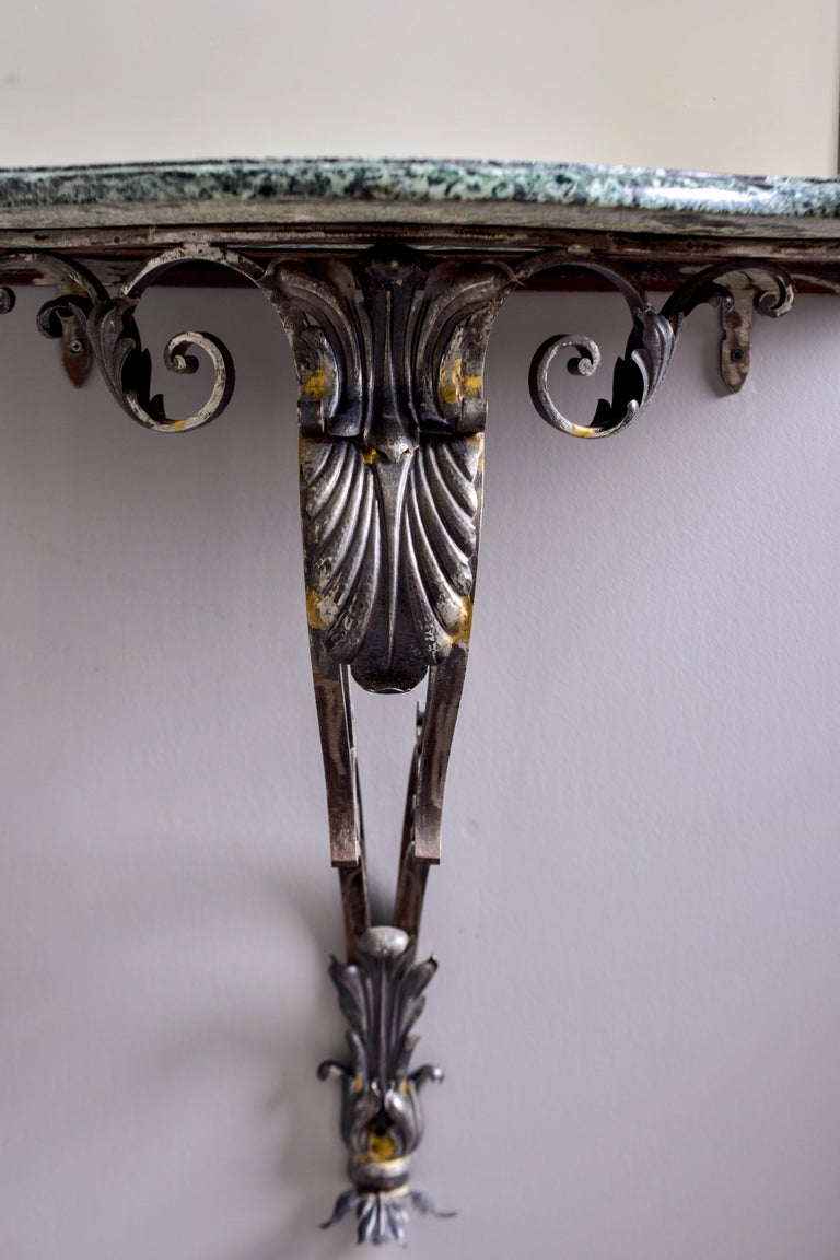 Pair French Iron Marble-Topped Wall Consoles with Mirrors For Sale 2
