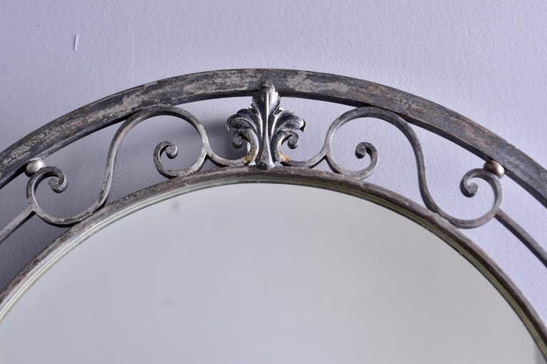 Pair French Iron Marble-Topped Wall Consoles with Mirrors For Sale 4