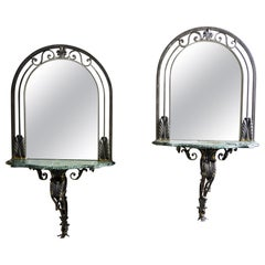Pair French Iron Marble-Topped Wall Consoles with Mirrors