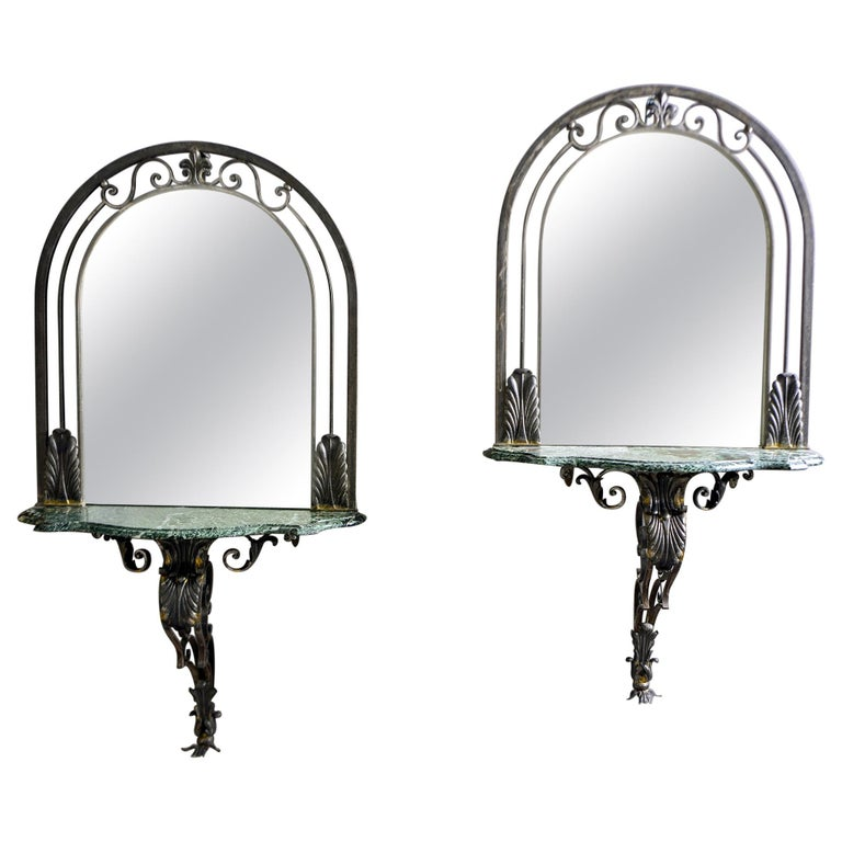 Pair French Iron Marble-Topped Wall Consoles with Mirrors For Sale