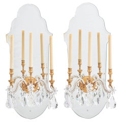 Pair of French Large Mirror Back Wall Sconces with Beaded Arms, circa 1920