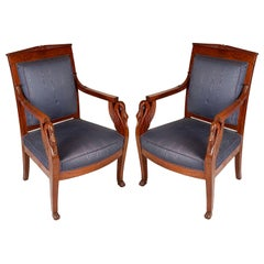 Pair of French Late 19th Century Empire Mahogany Armchairs