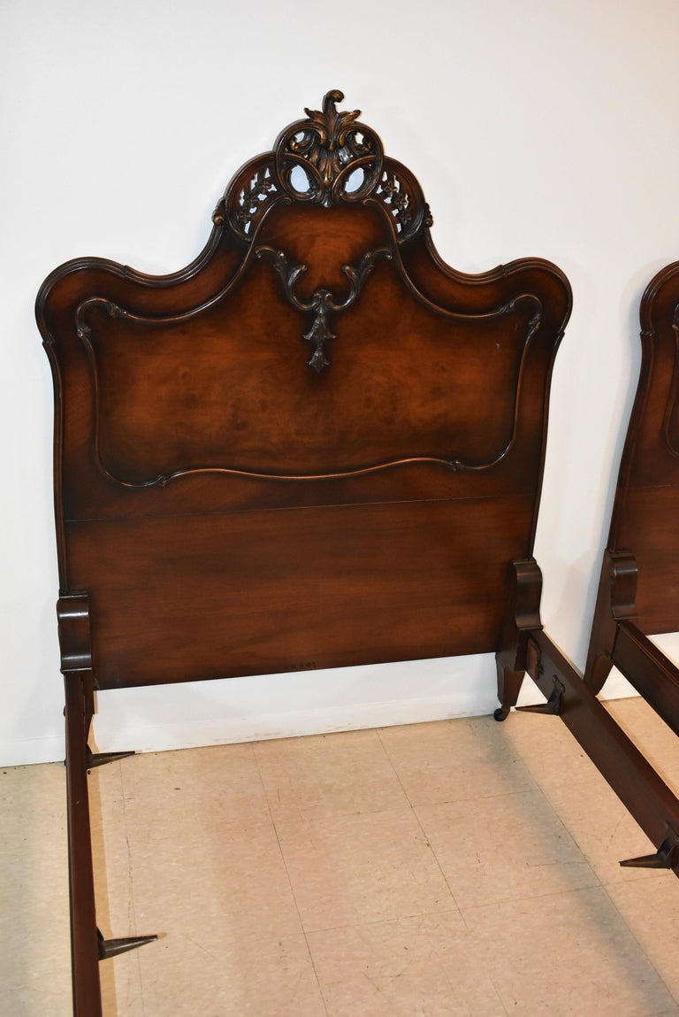 North American Pair of French Louie XV Style Walnut Twin Bed Frames by Irwin Furniture