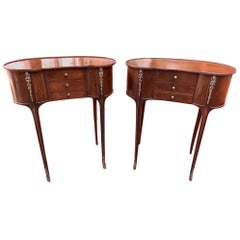 Pair of French Louis Philippe Kidney Side Table Nightstands Bedside Chests