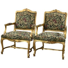 Pair of French Louis XIV Carved Giltwood and Tapestry Fauteuil Armchairs