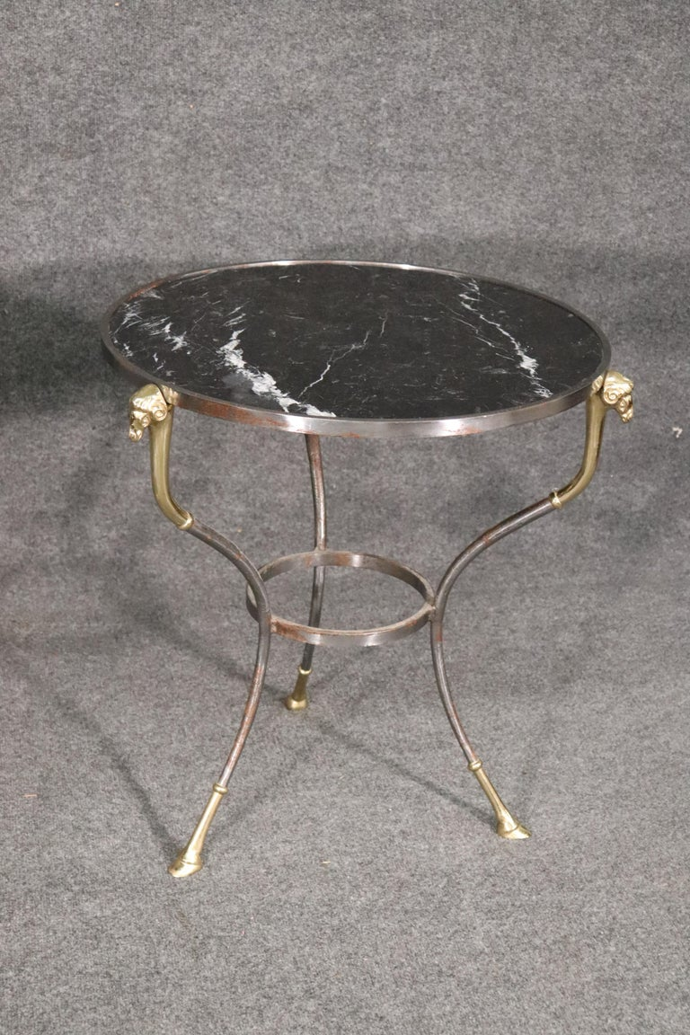 Louis XVI Pair French Louis XV Black Marble Steel and Brass Rams Head Gueridons End Tables For Sale