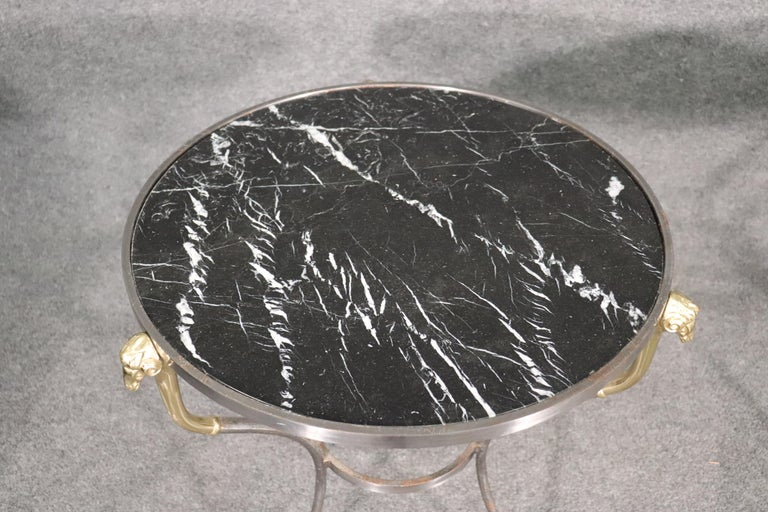 Pair French Louis XV Black Marble Steel and Brass Rams Head Gueridons End Tables In Good Condition For Sale In Swedesboro, NJ