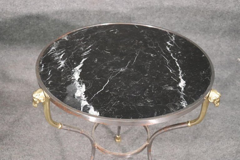Late 20th Century Pair French Louis XV Black Marble Steel and Brass Rams Head Gueridons End Tables For Sale