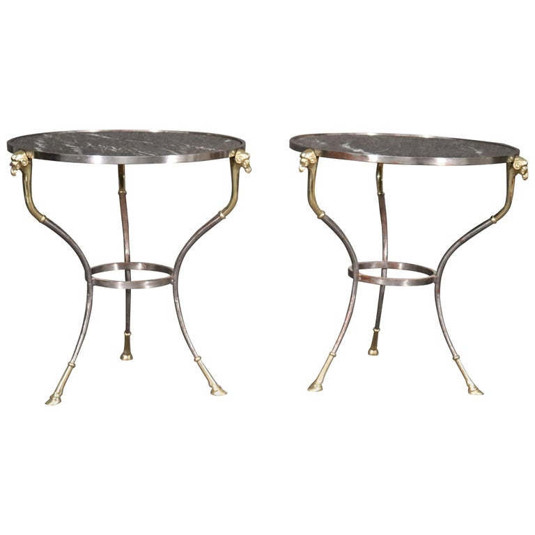 Pair French Louis XV Black Marble Steel and Brass Rams Head Gueridons End Tables For Sale