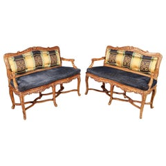 Pair of French Louis XV Style Custom Upholstered cane Window Benches Settees