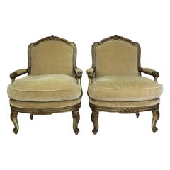 Pair of Louis XV Style Gilt & Painted Carved Armchairs, Attributed Maison Jansen