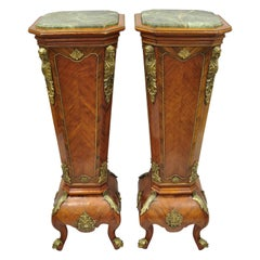 Pair of Louis XV Style Marble-Top Bombe Reproduction Pedestal Plant Stands