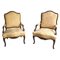 Pair of French Louis XV Walnut Armchairs, circa 1880s