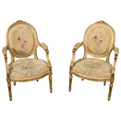 Pair French Louis XVI Gilded Gold Leaf Aubusson Upholstered Armchairs C1920
