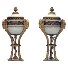 Pair of French Louis XVI Marble Gilt Bronze Ormolu Brule Parfumier