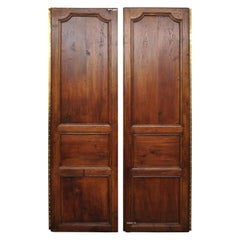 Pair of Louis XVI Oak Interior Double Doors with Bronze Rococo Door Knob 'B'
