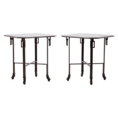 Pair French Louis XVI Style Bronzed Hoof Tables