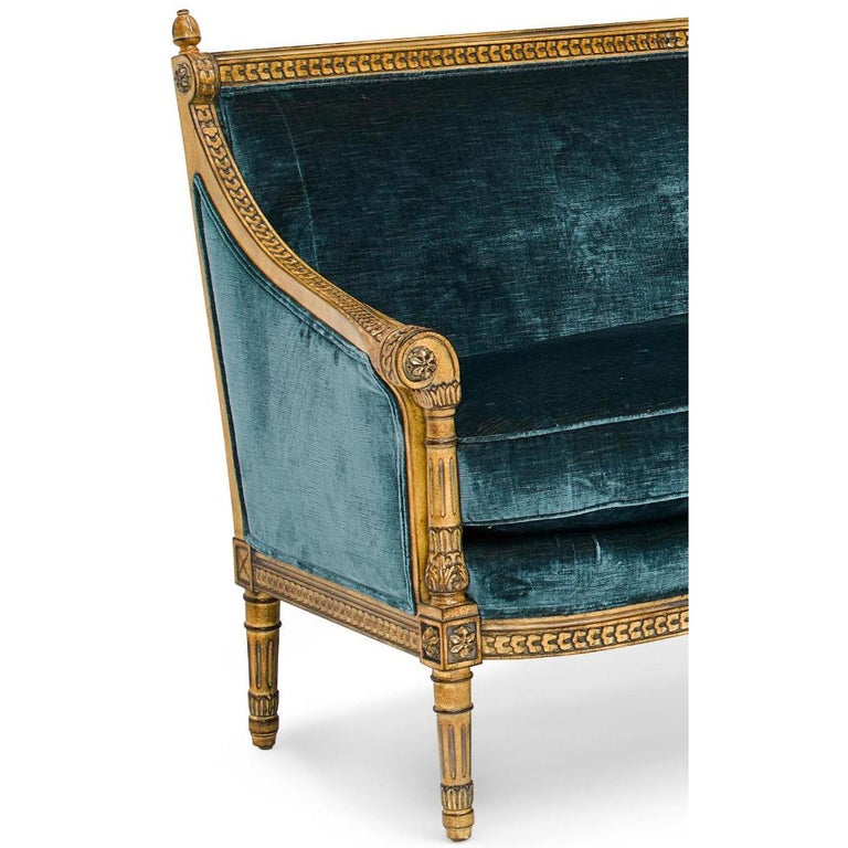 Contemporary Pair of Louis XVI Style Carved and Laqué Gilded Bergère Settees or Loveseats For Sale