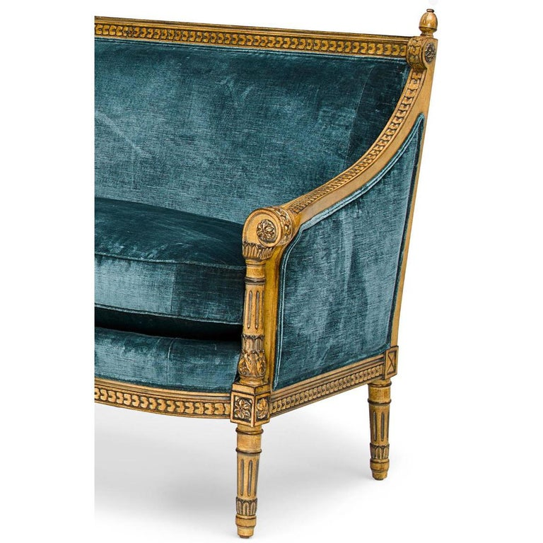 Wood Pair of Louis XVI Style Carved and Laqué Gilded Bergère Settees or Loveseats For Sale