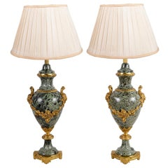 Pair of French Louis XVI Style Marble Lamps
