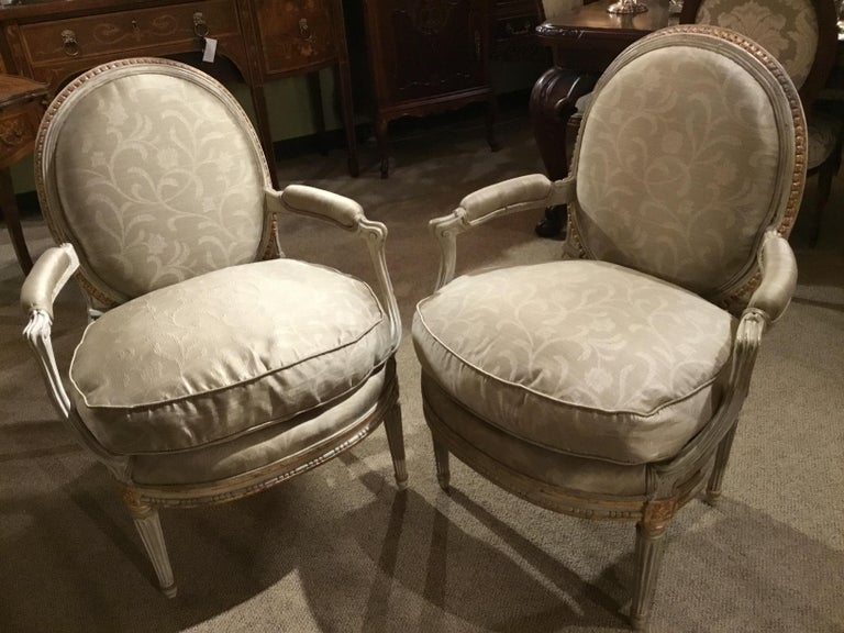 Hardwood Pair of French Louis XVI Style Parcel Paint and Parcel-Gilt Chairs/Fauteuils For Sale