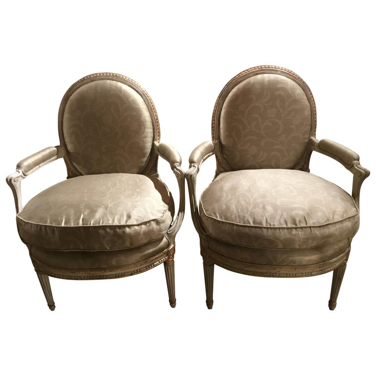 Pair of French Louis XVI Style Parcel Paint and Parcel-Gilt Chairs/Fauteuils For Sale