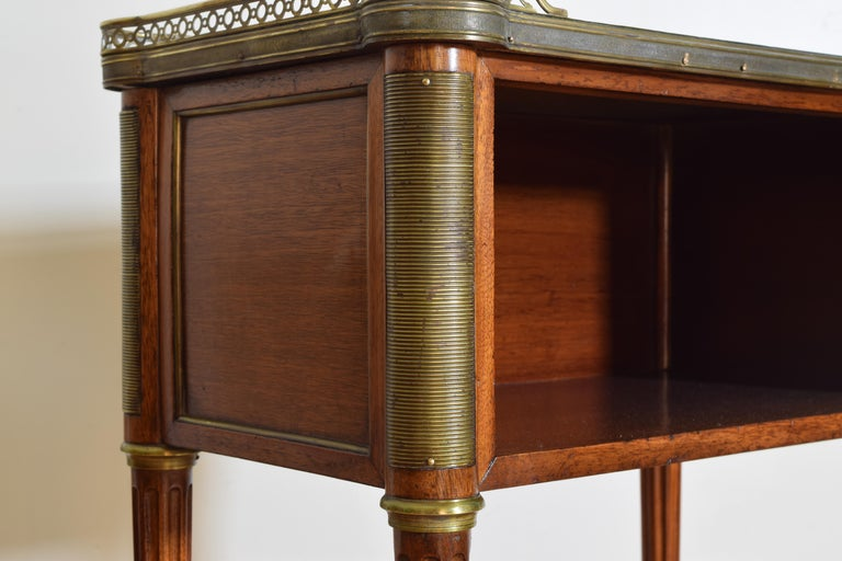 Pair French Mahogany and Brass Mounted Louis XVI Style Side Cabinets, Late 19thc For Sale 7