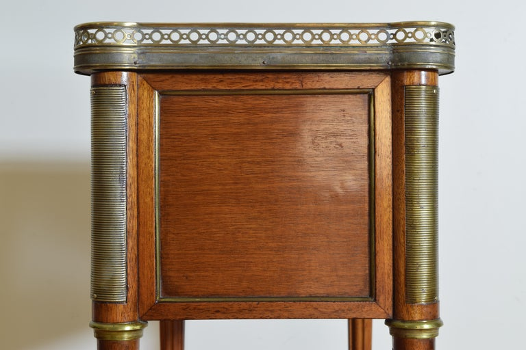 Pair French Mahogany and Brass Mounted Louis XVI Style Side Cabinets, Late 19thc For Sale 8