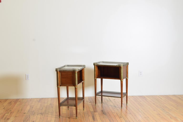 Pair French Mahogany and Brass Mounted Louis XVI Style Side Cabinets, Late 19thc In Good Condition For Sale In Atlanta, GA