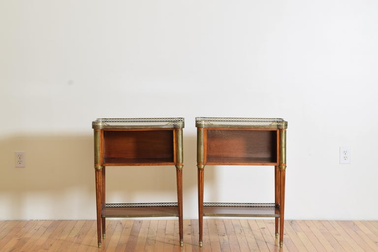 Late 19th Century Pair French Mahogany and Brass Mounted Louis XVI Style Side Cabinets, Late 19thc For Sale