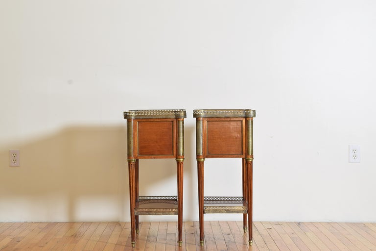 Pair French Mahogany and Brass Mounted Louis XVI Style Side Cabinets, Late 19thc For Sale 1