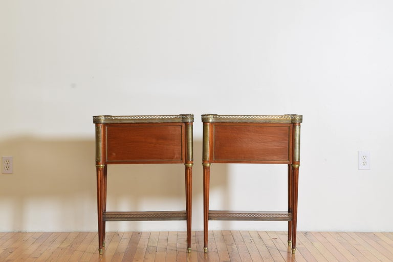 Pair French Mahogany and Brass Mounted Louis XVI Style Side Cabinets, Late 19thc For Sale 2