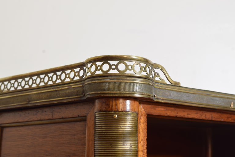 Pair French Mahogany and Brass Mounted Louis XVI Style Side Cabinets, Late 19thc For Sale 4