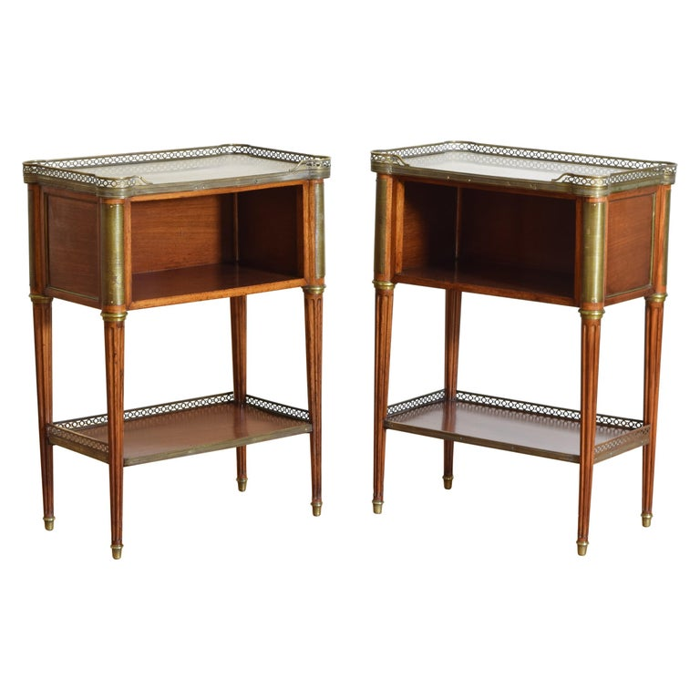 Pair French Mahogany and Brass Mounted Louis XVI Style Side Cabinets, Late 19thc For Sale