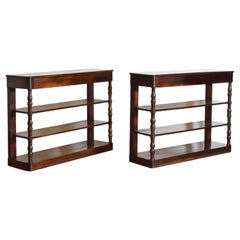 Pair French Mahogany Louis Philippe Period 1-Drawer Etagere Consoles, 2ndq 19thc