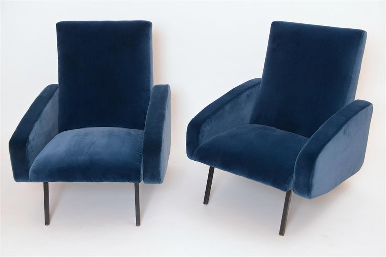 Mid-Century Modern Pair of French Midcentury Armchairs, circa 1950 For Sale