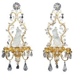 Pair French Mid-Century Modern Bagues Style Rock Crystal Cockatoo-Form Sconces