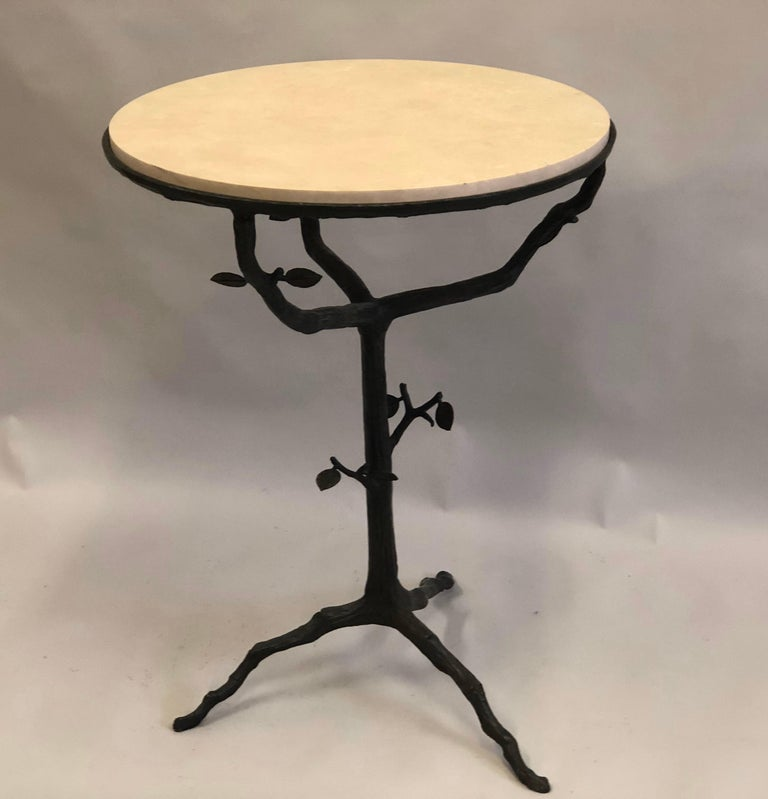 Patinated French Mid-Century Modern Bronze and Limestone End/Side Tables Giacometti, Pair For Sale