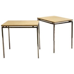 Pair of French Midcentury Nickel & Parchment Leather Side Tables, Maison Ramsay