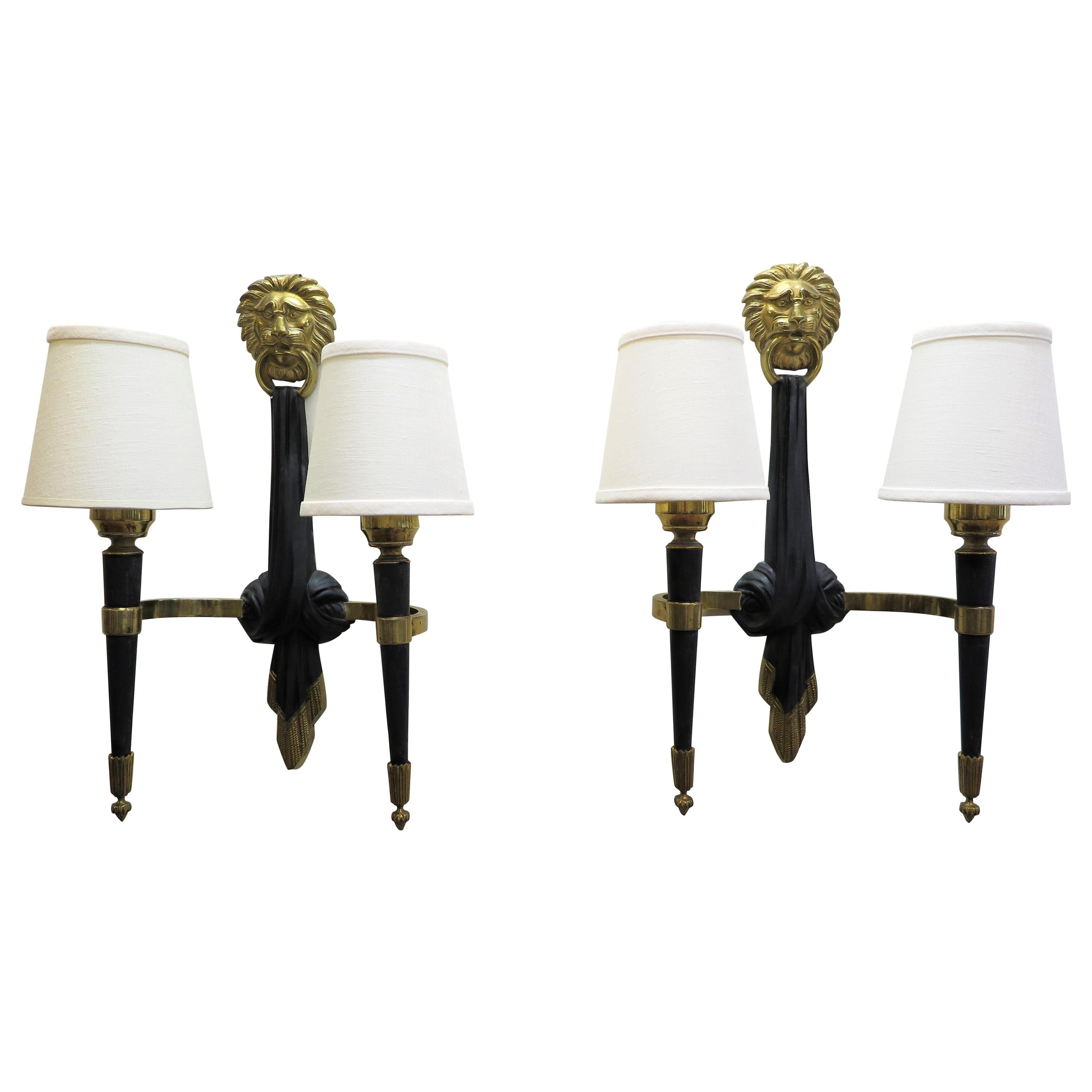 Pair of French Midcentury Sconces Maison Jansen