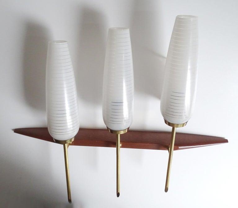 French Midcentury Maison Arlus Teak Brass Sconces, Stilnovo Gio Ponti Era, Pair For Sale 1
