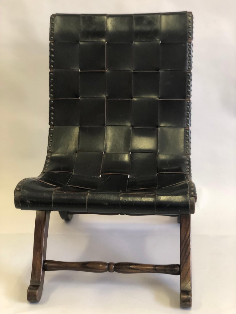 Modern Neoclassical Black Leather Strap Chair Attributed to Pierre Lottier, Pair For Sale 5